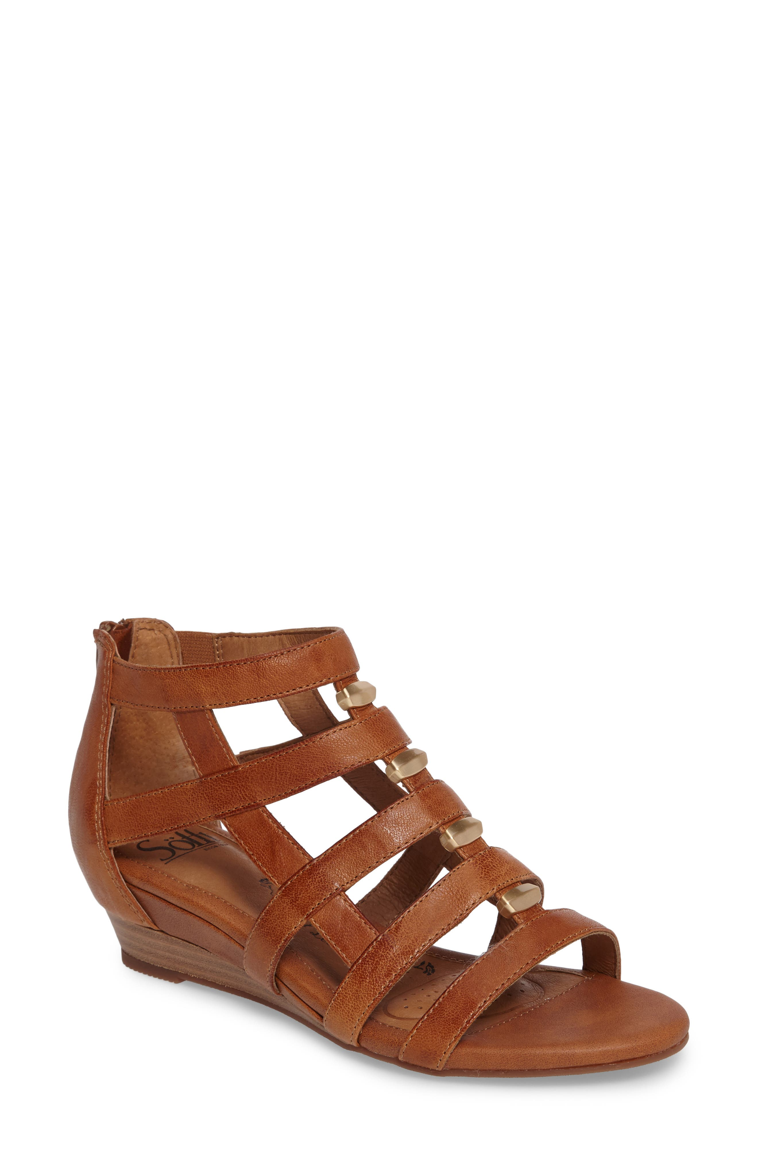 ,                             Rio Gladiator Wedge Sandal,                             Main thumbnail 1, color,                             LUGGAGE LEATHER