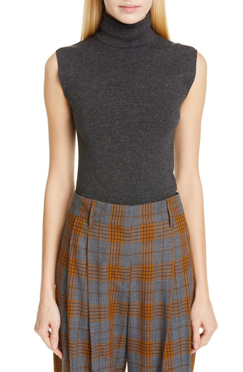 BRUNELLO CUCINELLI Sleeveless Metallic Turtleneck Sweater, Main, color, 020