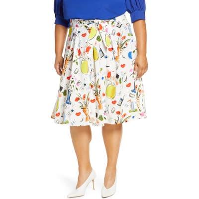 Plus Size Eloquii Graphic Print Skirt, White