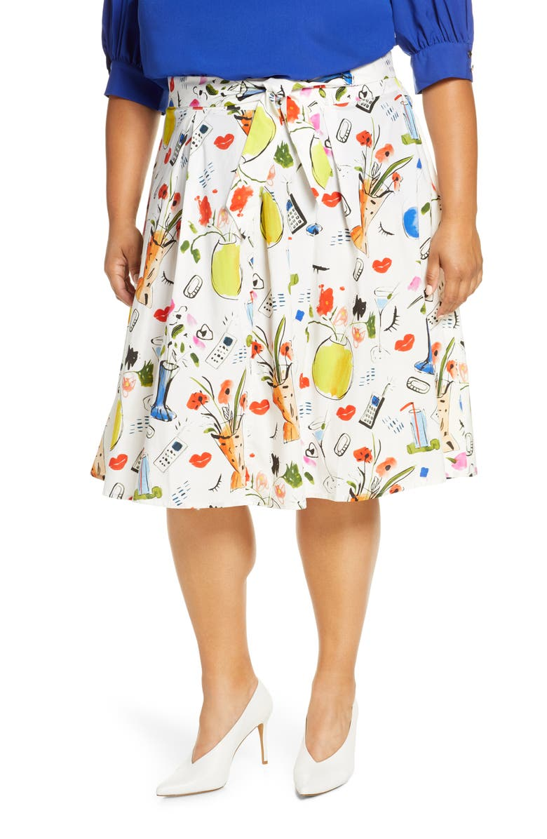 ELOQUII Graphic Print Skirt, Main, color, POTTED PLANTS