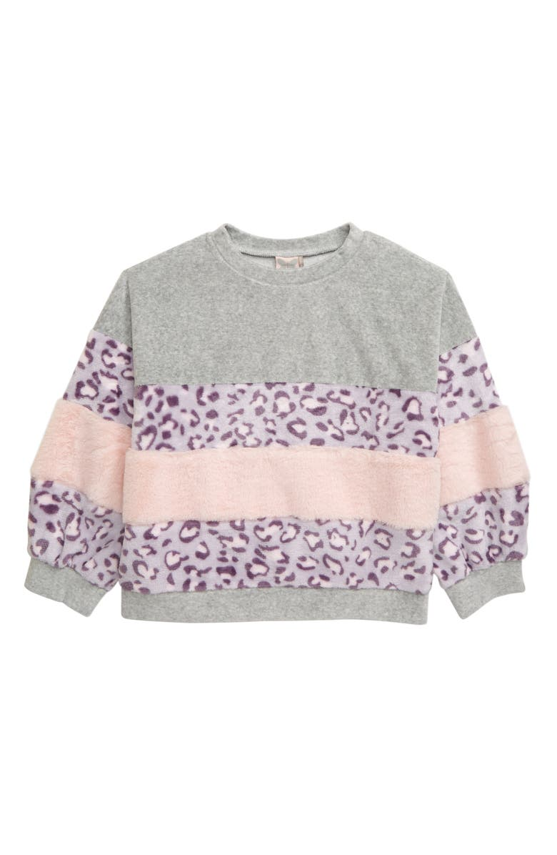 FOR ALL SEASONS Colorblock Sweatshirt, Main, color, LEOPARD PINK