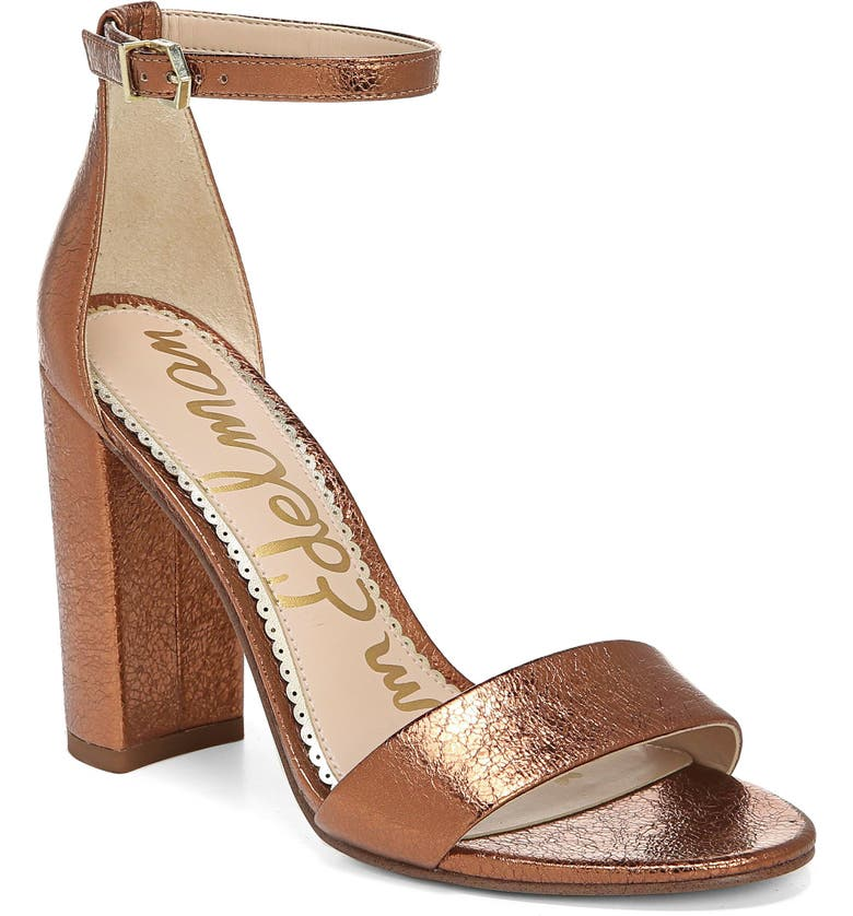 SAM EDELMAN Yaro Ankle Strap Sandal, Main, color, SPICED APRICOT LEATHER