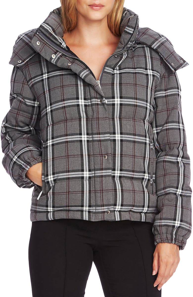 VINCE CAMUTO Plaid Hooded Puffer Jacket, Main, color, MED HEATHER GREY