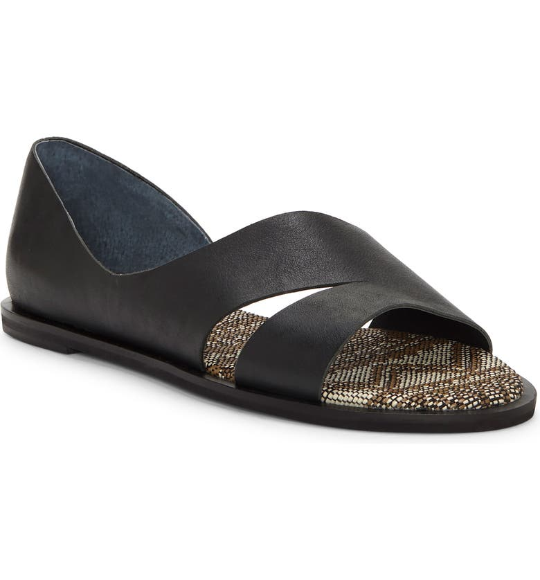 LUCKY BRAND Felicitas Flat Sandal, Main, color, BLACK LEATHER