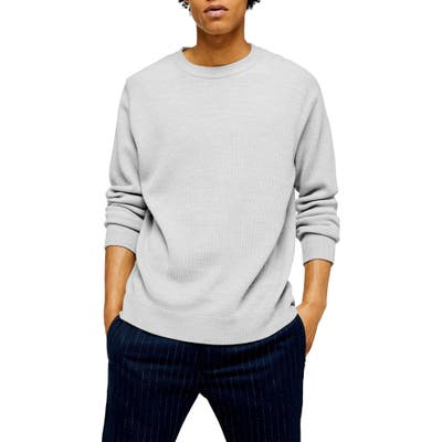 Topman Solid Crewneck Sweater, Grey