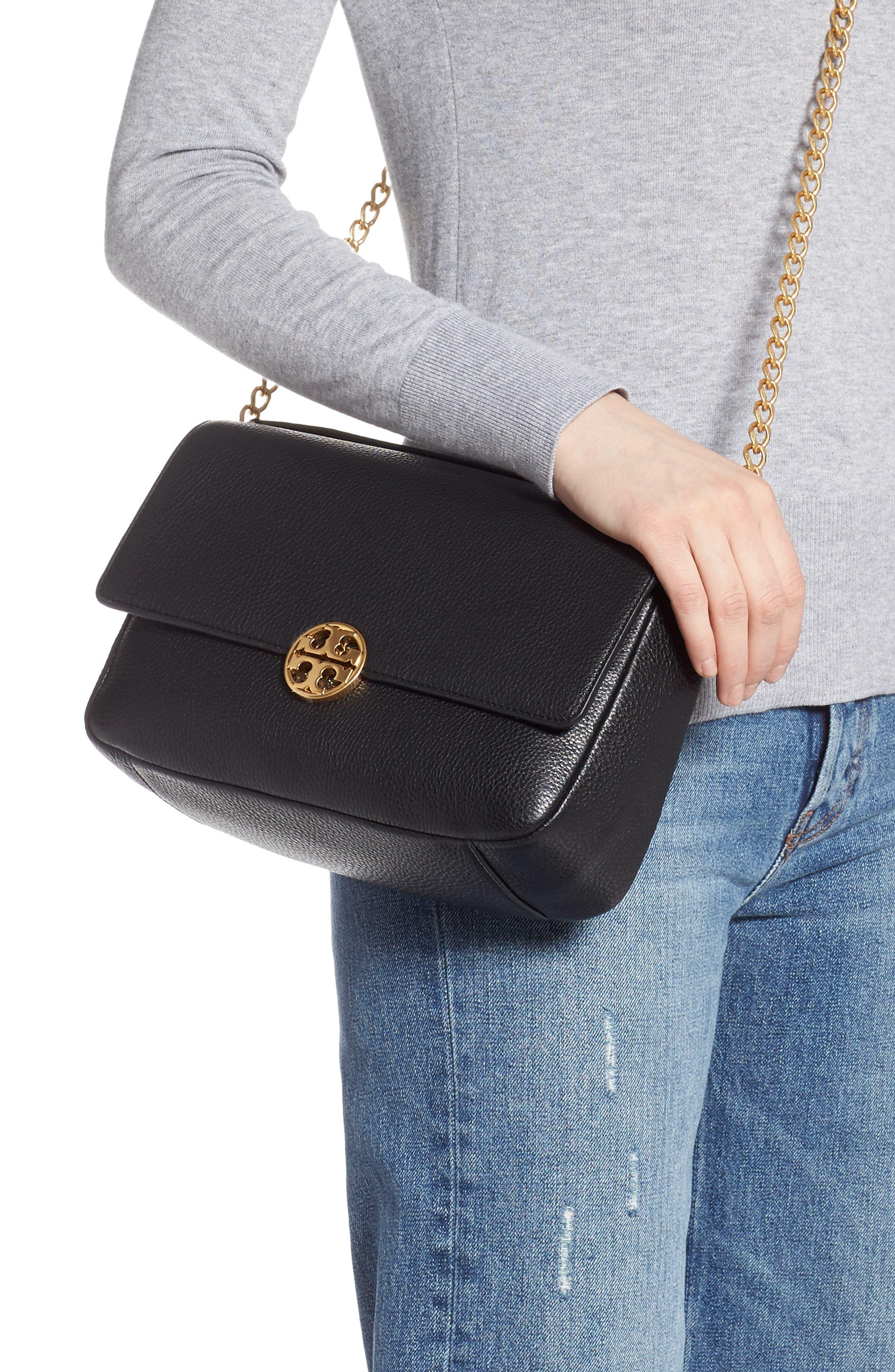 ,                             Chelsea Leather Shoulder Bag,                             Alternate thumbnail 4, color,                             BLACK
