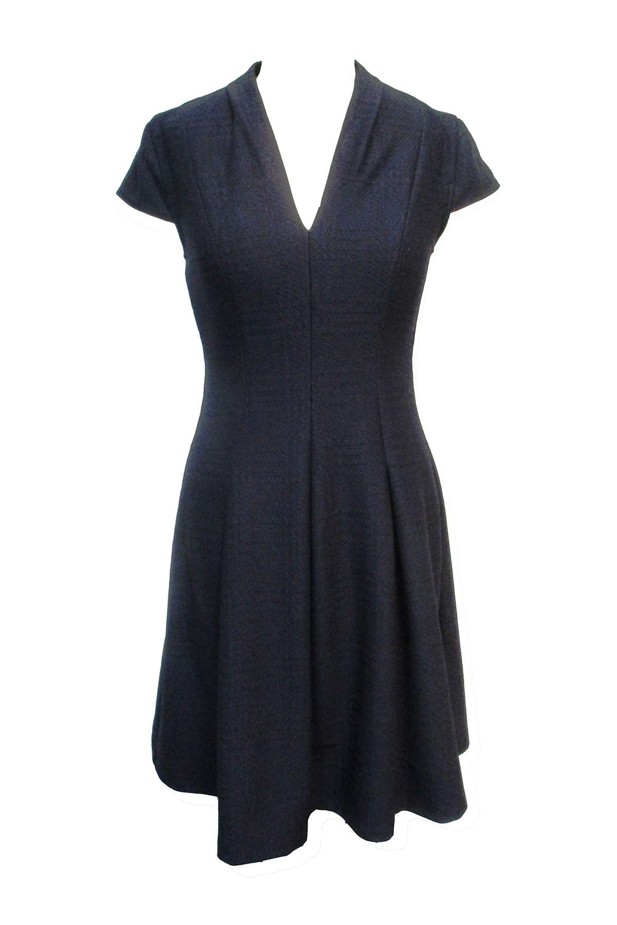 Image of Sandra Darren Solid V-Neck Cap Sleeve Fit & Flare Dress