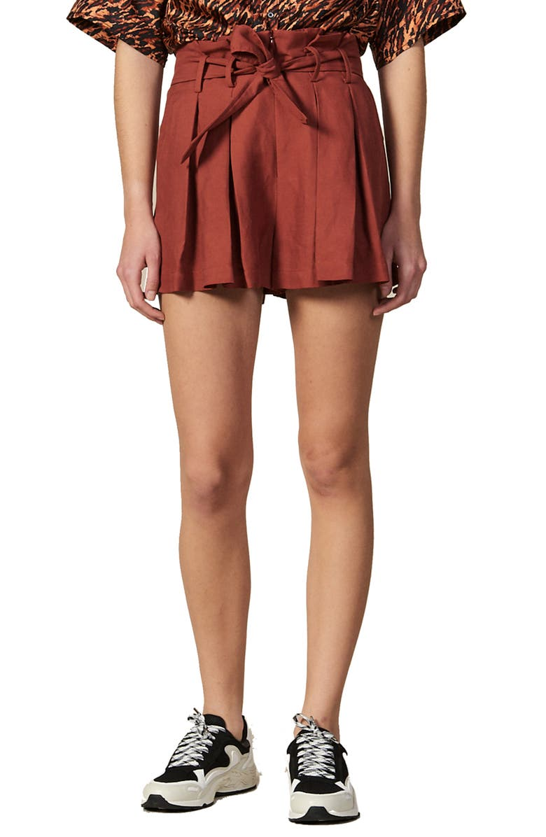 SANDRO Eddi Tie Waist Shorts, Main, color, 930