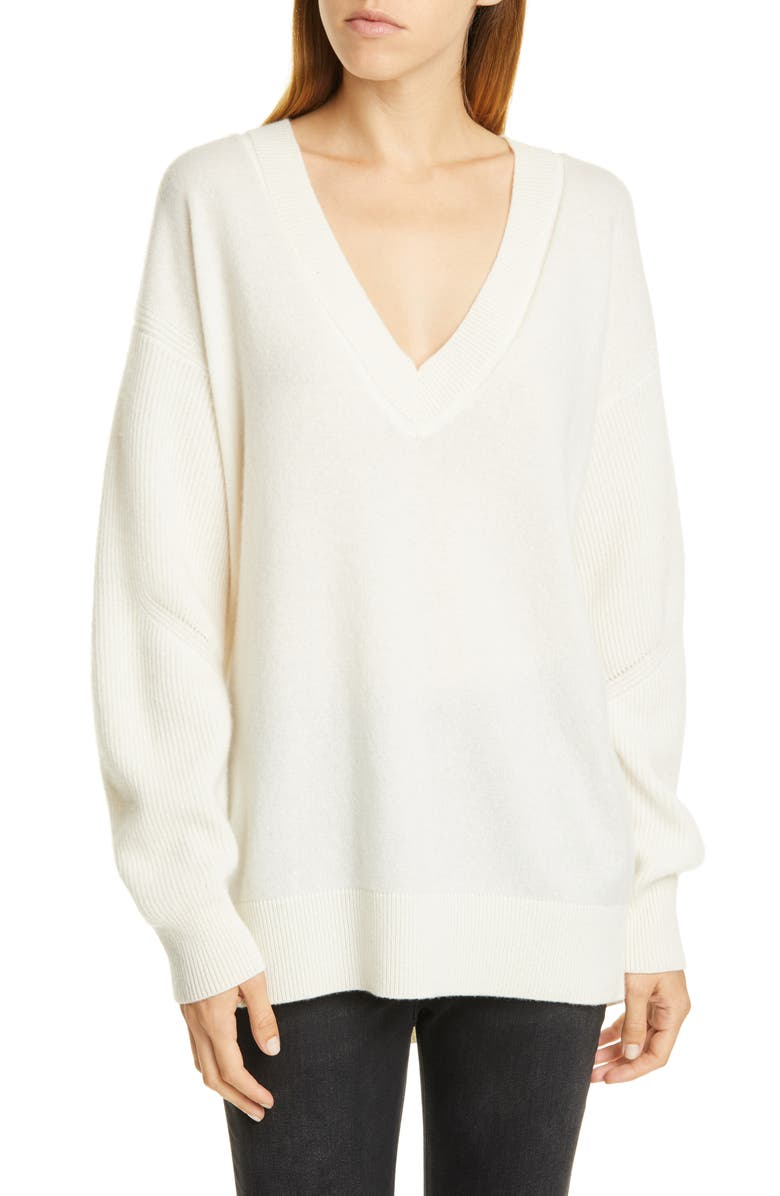 RAG & BONE Logan V-Neck Cashmere Sweater, Main, color, IVORY