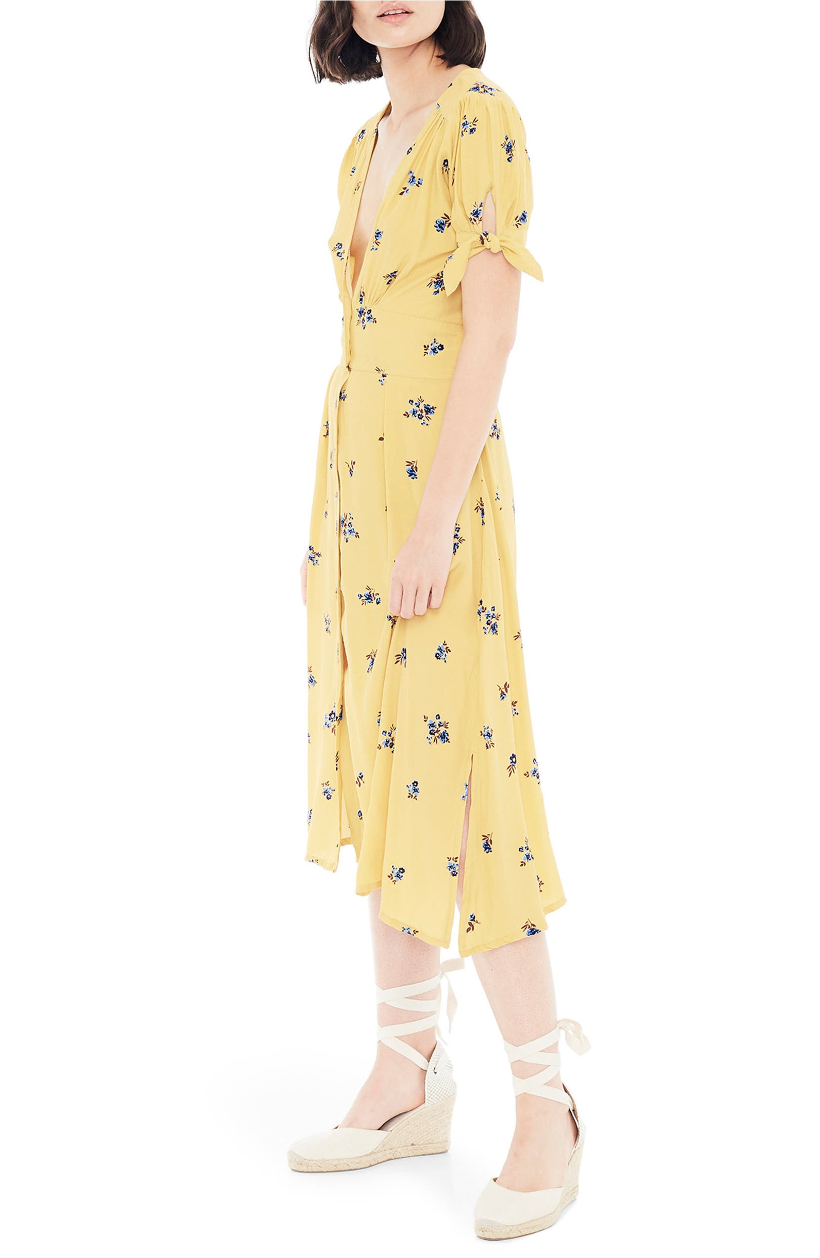285927dcecdb FAITHFULL THE BRAND Billie Floral Tie Sleeve Midi Dress | Nordstrom