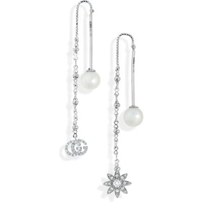 Gucci Flora Diamond & Cultured Pearl Threader Earrings