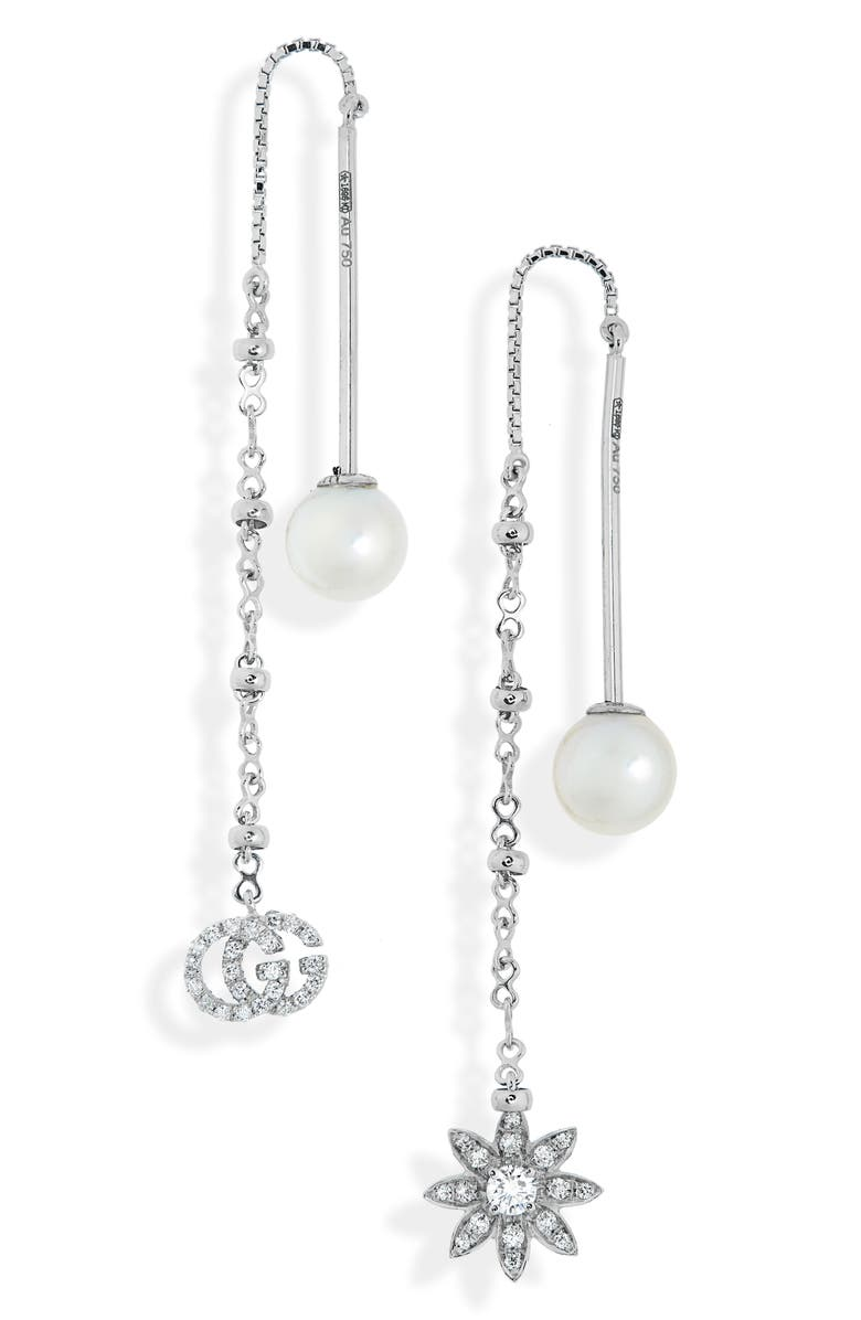GUCCI Flora Diamond & Cultured Pearl Threader Earrings, Main, color, WHITE GOLD/ PEARL