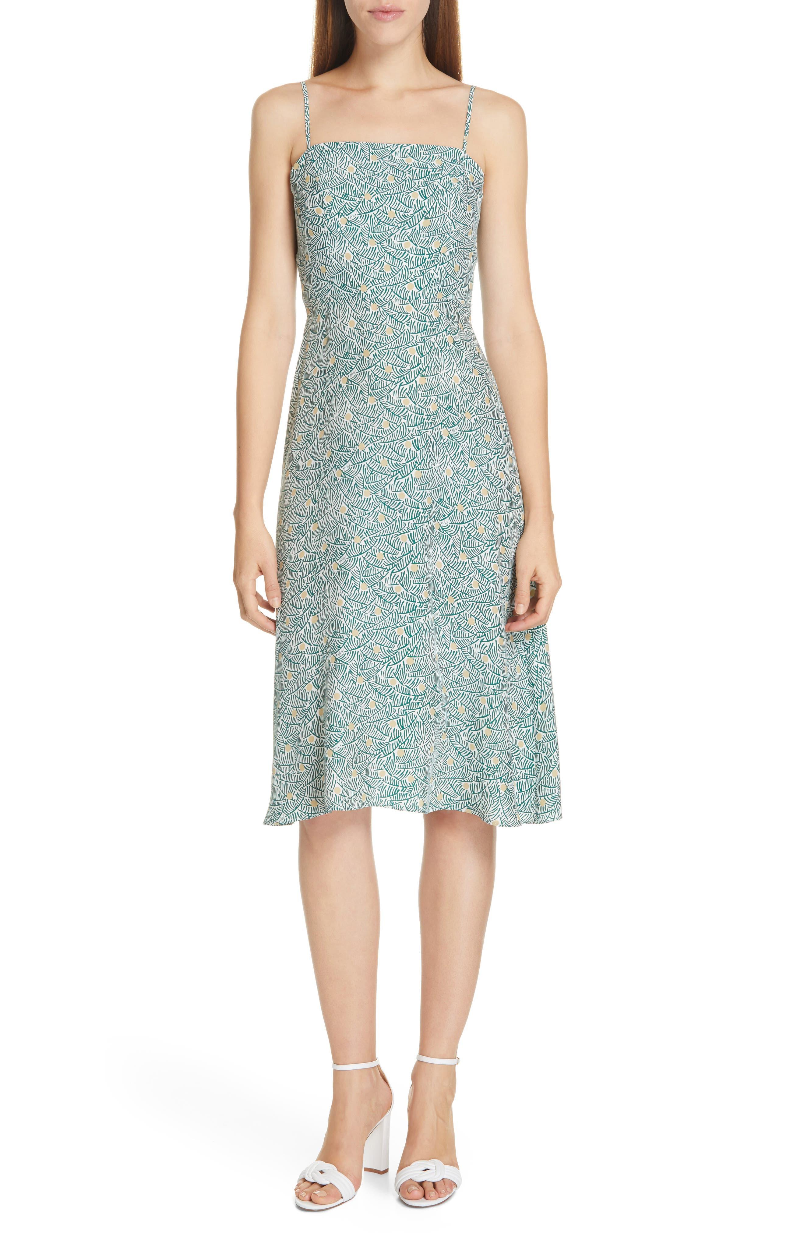 Hvn Nora Bias Cut Silk Dress, Green