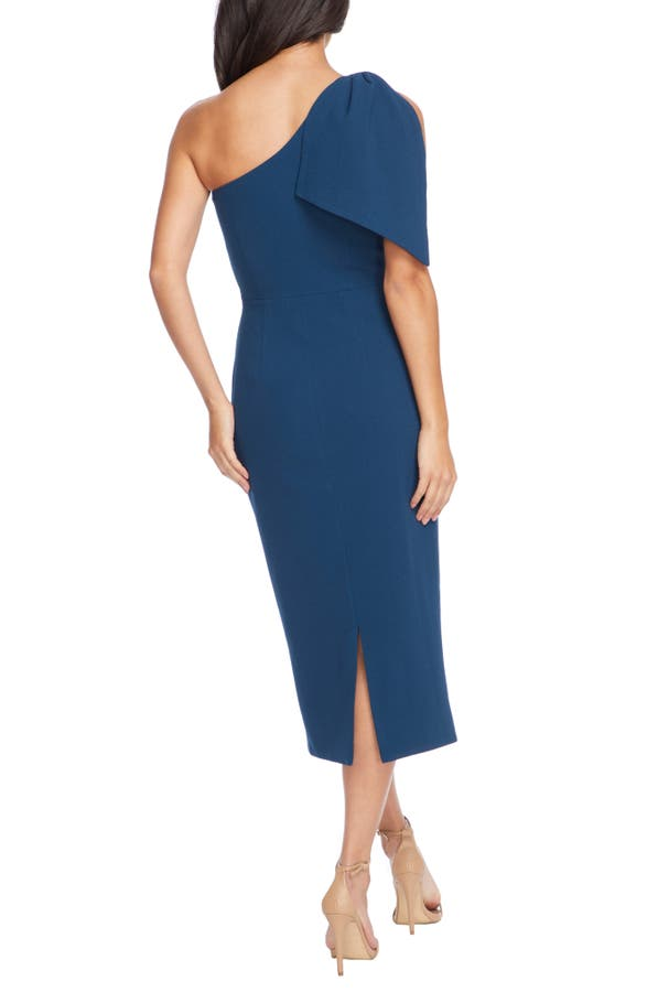 f8b14875fa1264 Dress The Population Tiffany One-Shoulder Midi Dress In Peacock Blue ...