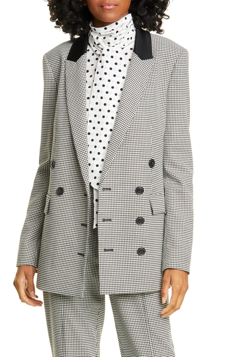 JASON WU Double Breasted Houndstooth Blazer, Main, color, BLACK MULTI