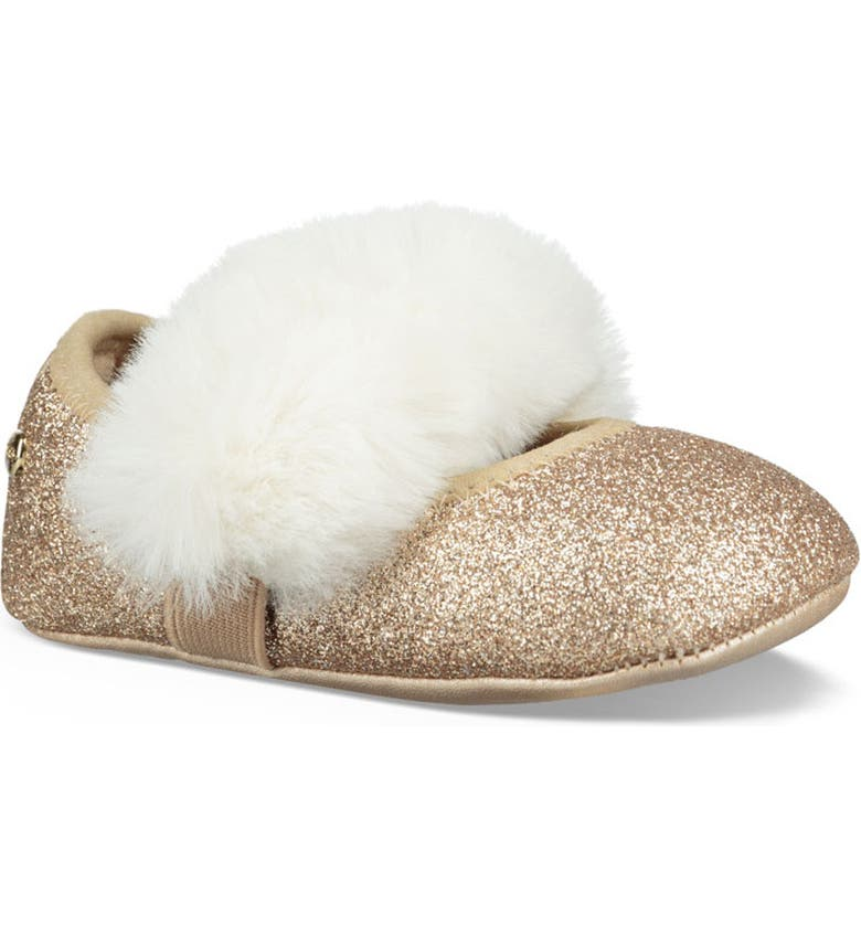 UGG<SUP>®</SUP> Fluff Glitter Ballet Flat, Main, color, GOLD