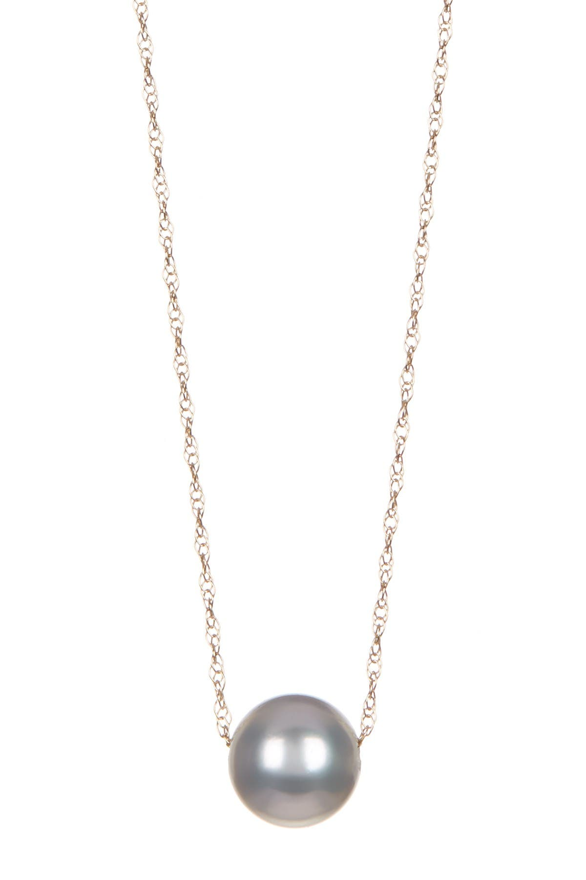 Image of Splendid Pearls 14K Yellow Gold Dyed Grey 8mm Akoya Pearl Slider Necklace