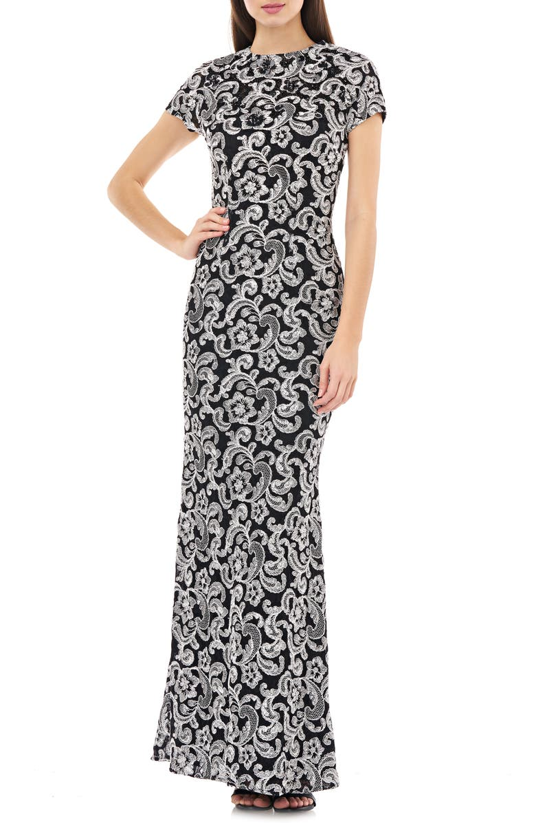 CARMEN MARC VALVO INFUSION Embellished Mesh Trumpet Gown, Main, color, 006