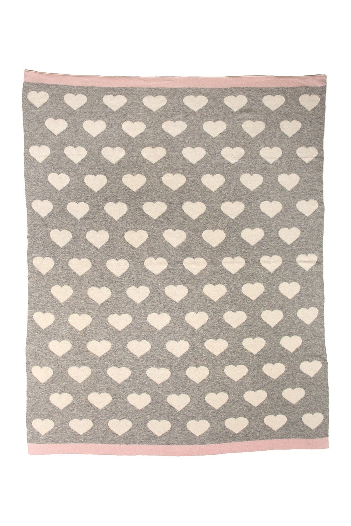"""Image of Parkland Collection Heartcloud Transitional Light Grey Knitted 32"""" x 40"""" Baby Blanket"""