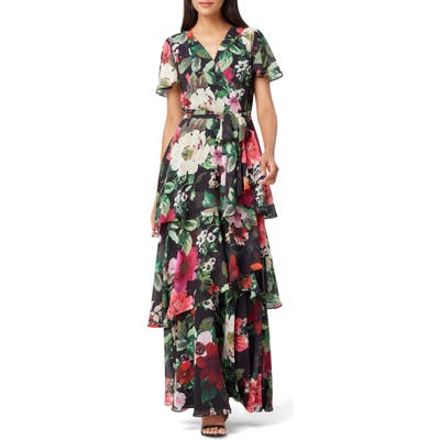 Tahari Floral Faux Wrap Chiffon Maxi Dress, Black