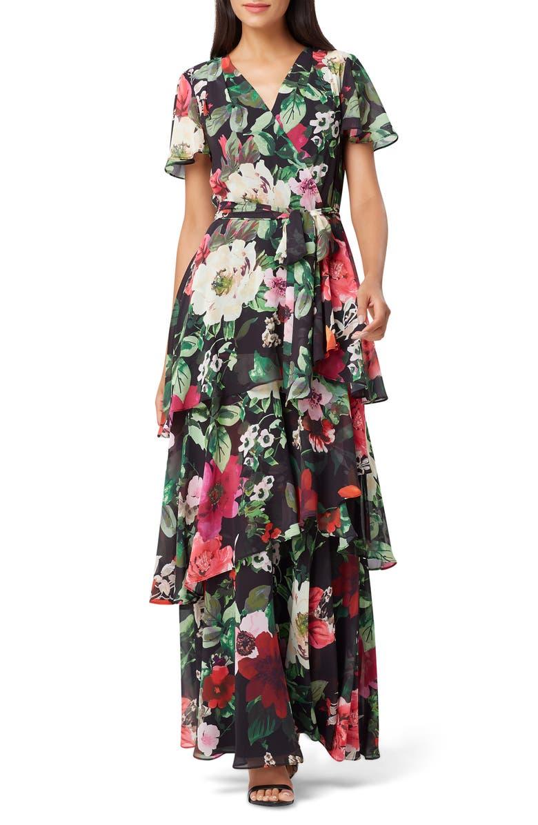 Floral Faux Wrap Chiffon Maxi Dress by Tahari