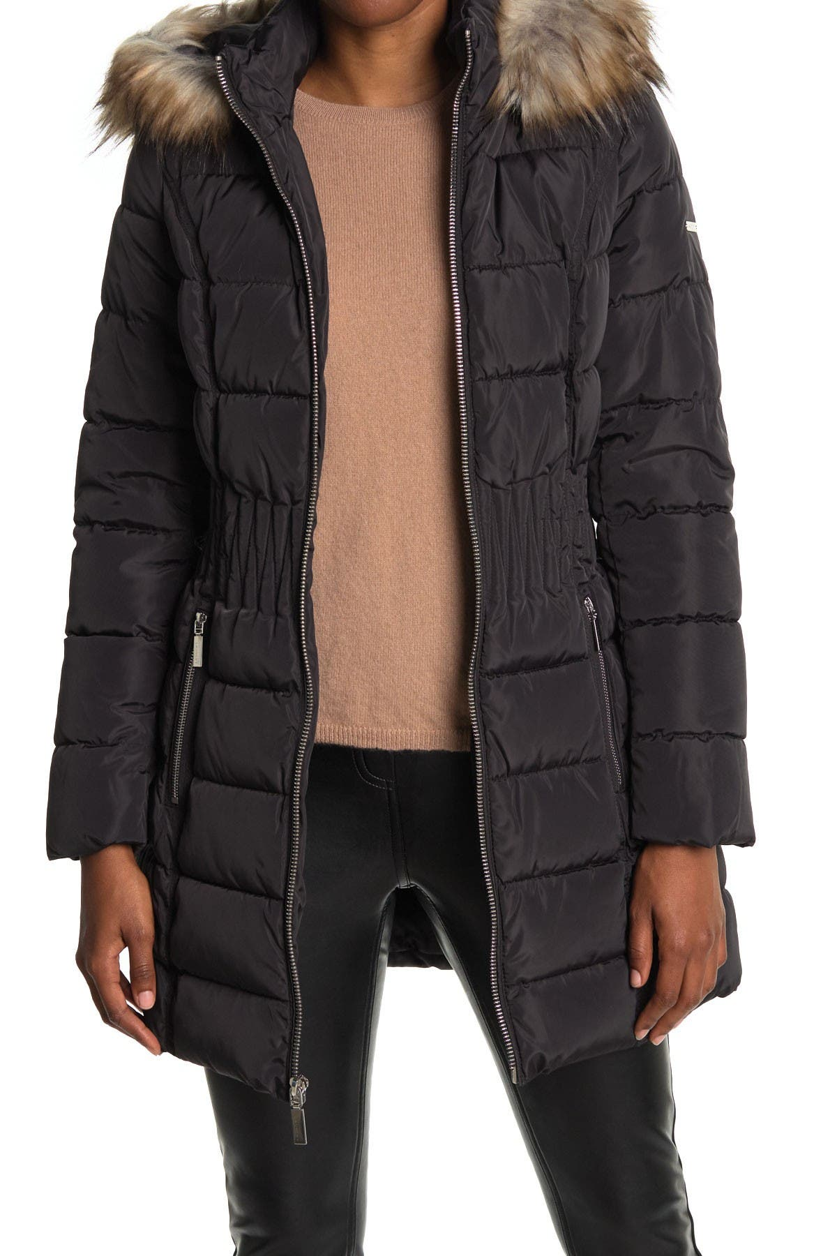 Image of Laundry By Shelli Segal Faux Fur Hood Quilted Puffer Jacket