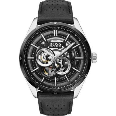 Boss Grand Prix Automatic Leather Strap Watch, 4m