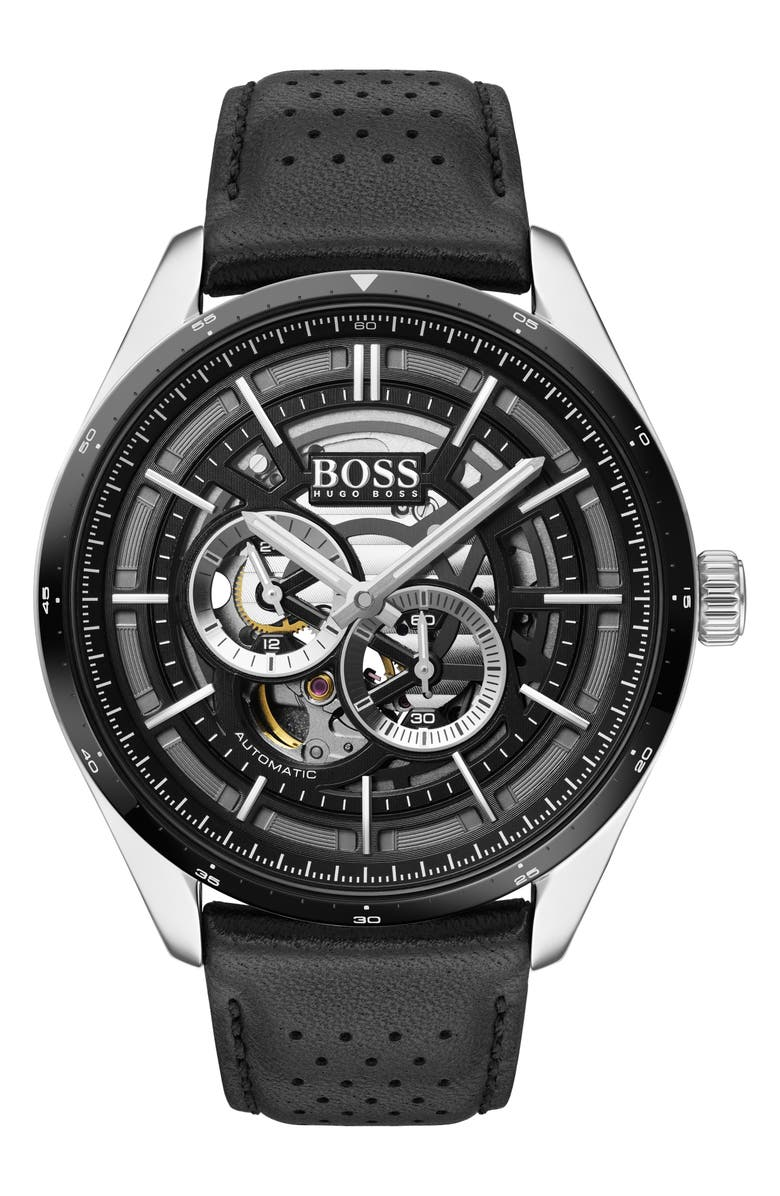 BOSS Grand Prix Automatic Leather Strap Watch, 44mm, Main, color, BLACK/ SILVER
