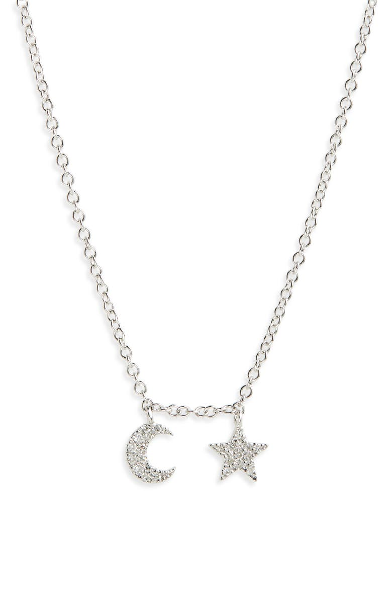 MEIRA T Moon and Star Diamond Pavé Charm Necklace, Main, color, WHITE GOLD
