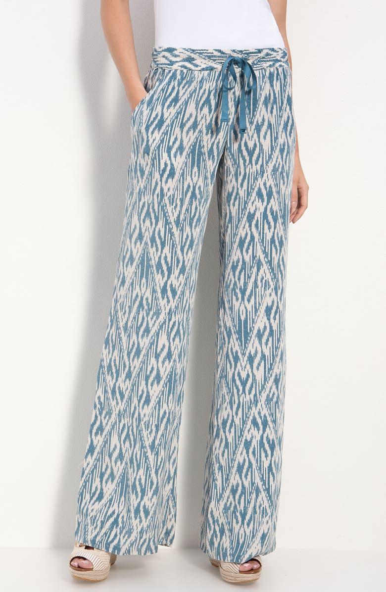 JOIE 'Aryn' Ikat Silk Wide Leg Pants, Main, color, CYAN