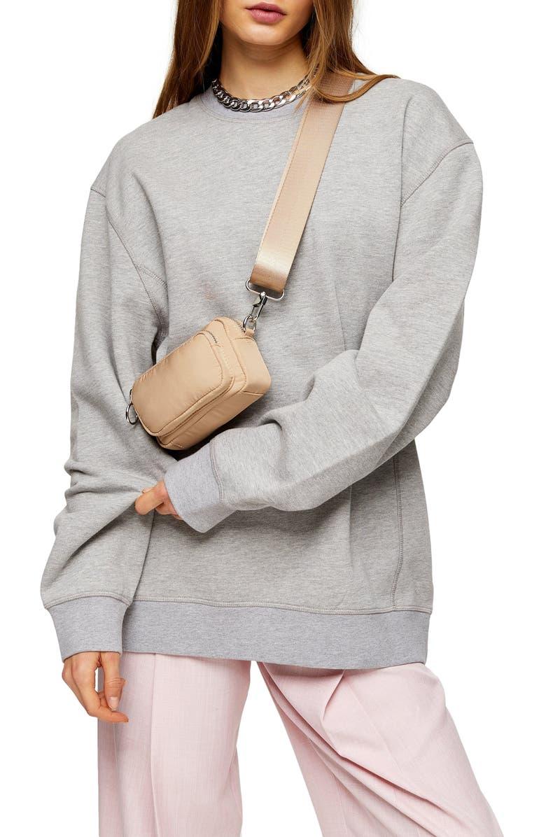 TOPSHOP Relaxed Panel Sweatshirt, Main, color, GREY MARL
