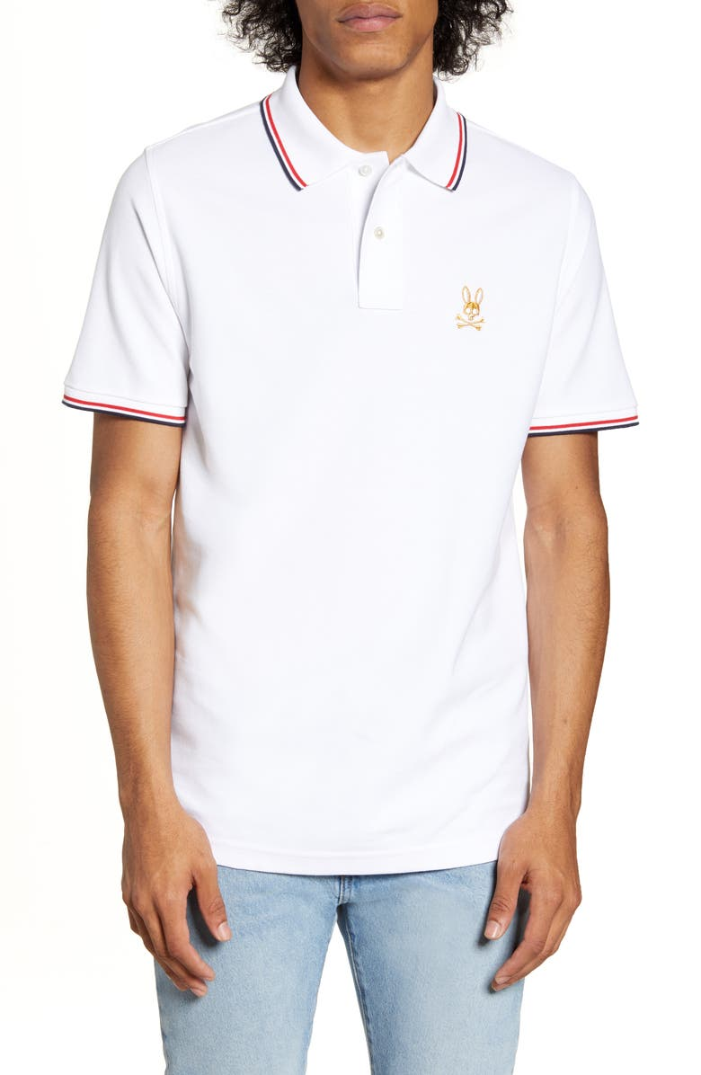 PSYCHO BUNNY St. Lucia Tipped Piqué Polo, Main, color, 100 WHITE