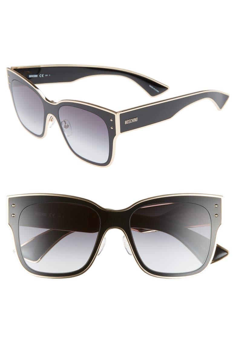 MOSCHINO 55mm Cat Eye Sunglasses, Main, color, BLACK
