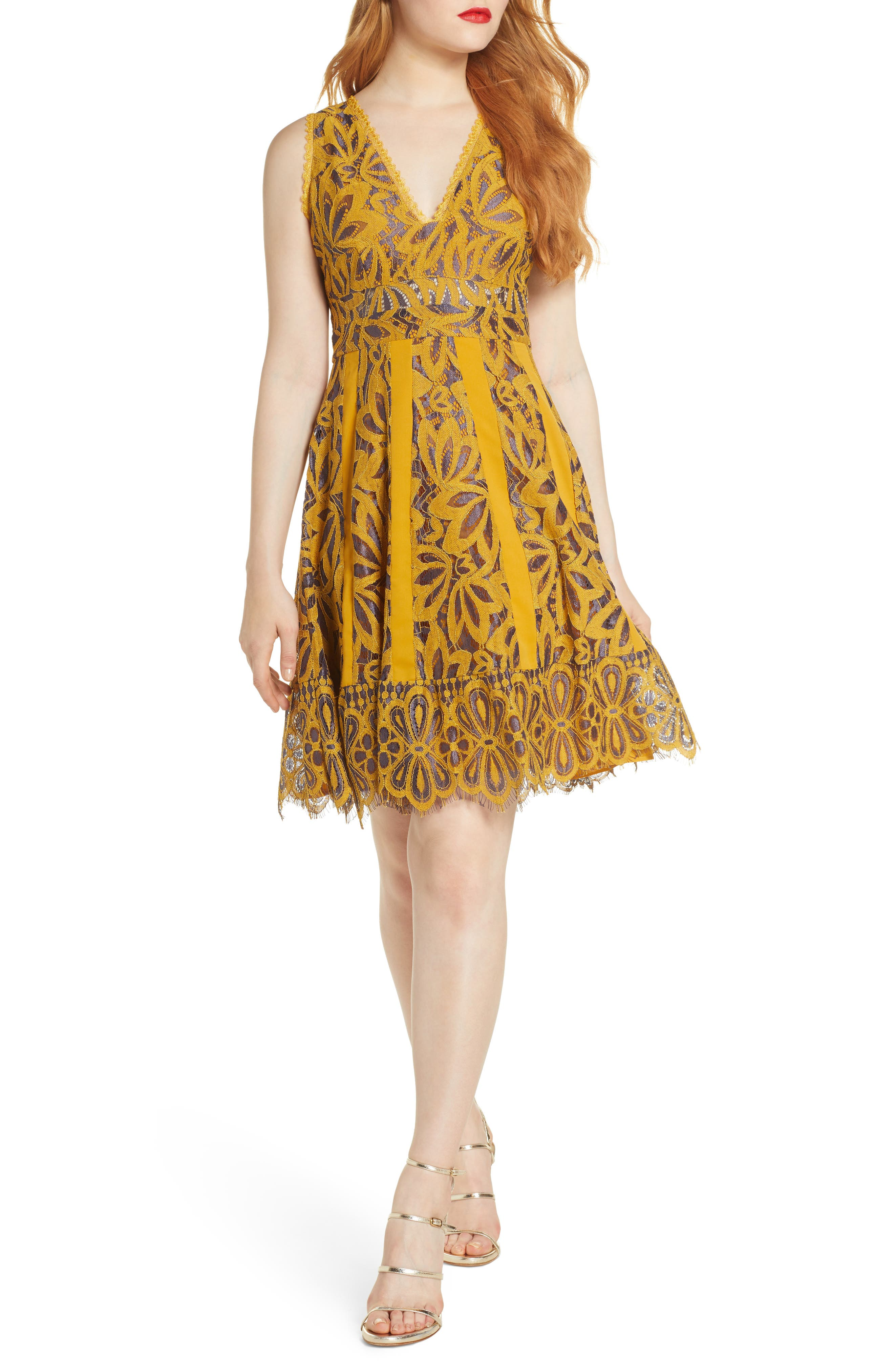 Foxiedox Embroidered Lace Fit & Flare Dress, Yellow