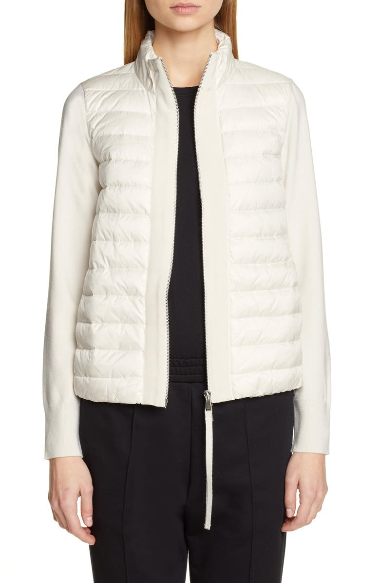 MONCLER Quilted Lightweight Down & Cashmere Cardigan, Main, color, 100