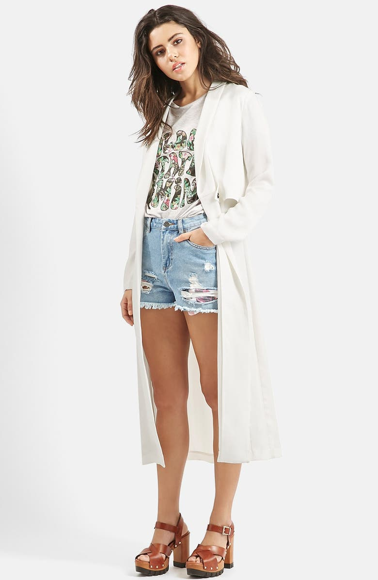 TOPSHOP KENDALL + KYLIE at Topshop Duster Coat, Main, color, CREAM