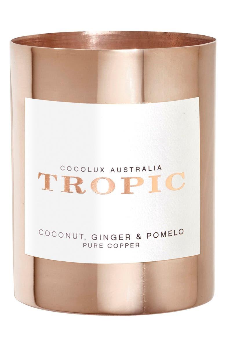 COCOLUX AUSTRALIA Coconut, Ginger & Pomelo Small Copper Candle, Main, color, NO COLOR