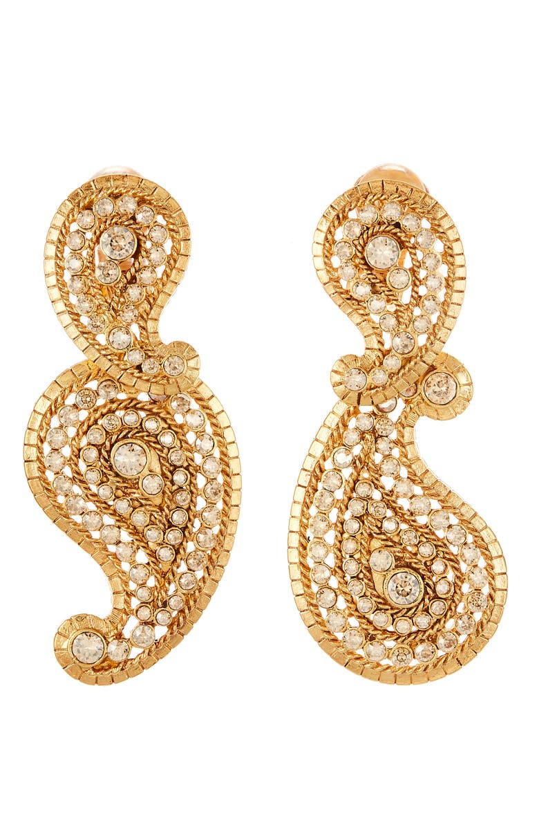 Oscar De La Renta Pav Paisley Earrings