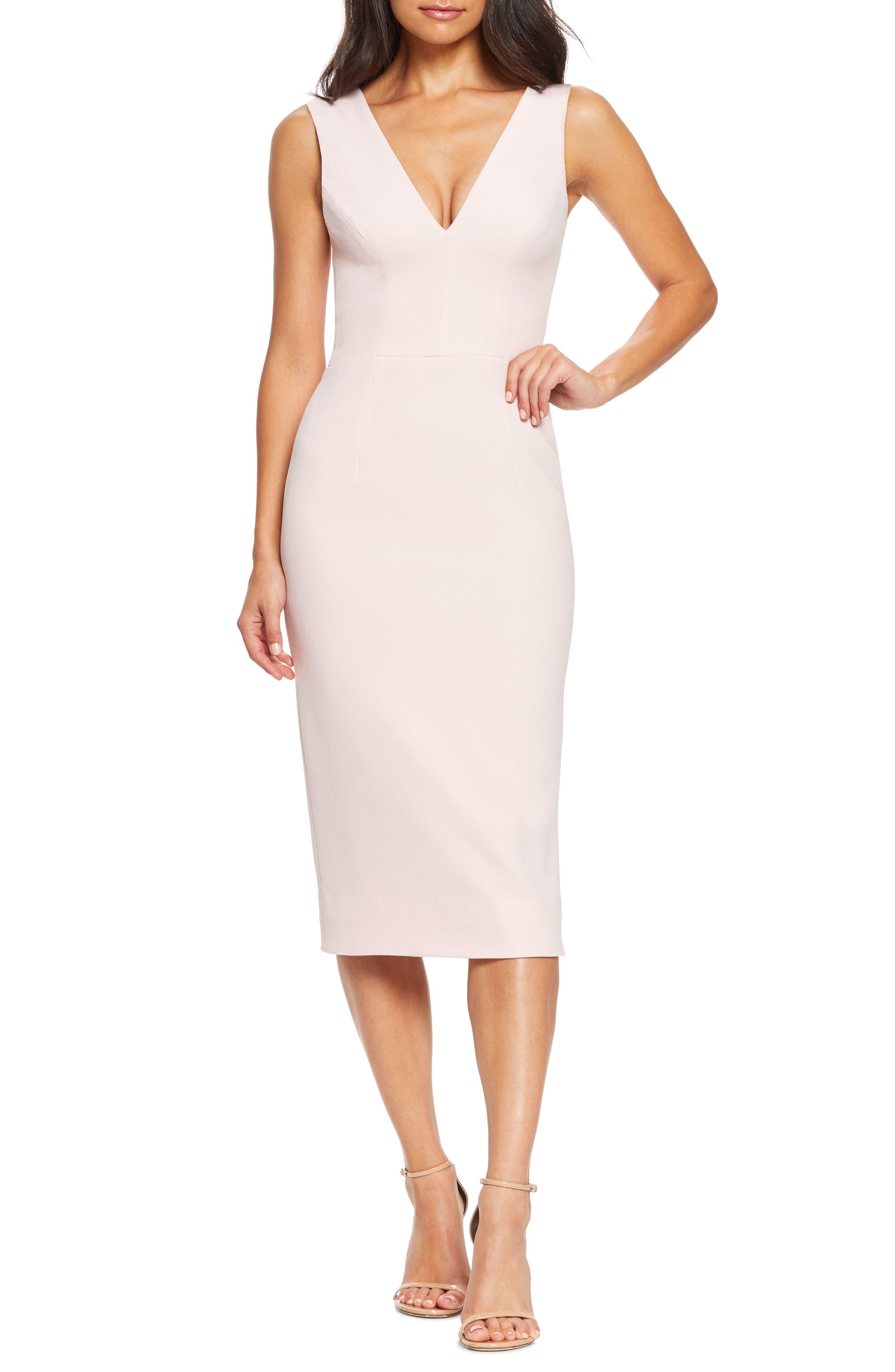 Dress The Population Sandy Plunge Neck Stretch Crepe Sheath Dress, Pink