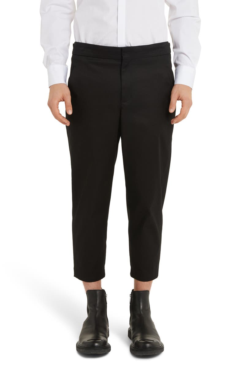 NEIL BARRETT Crop Twill Pants, Main, color, BLACK