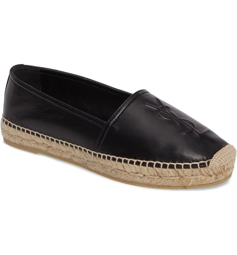 SAINT LAURENT Logo Espadrille, Main, color, BLACK