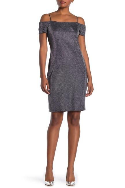 Image of Marina Cold Shoulder Metallic Knit Slim Midi Dress