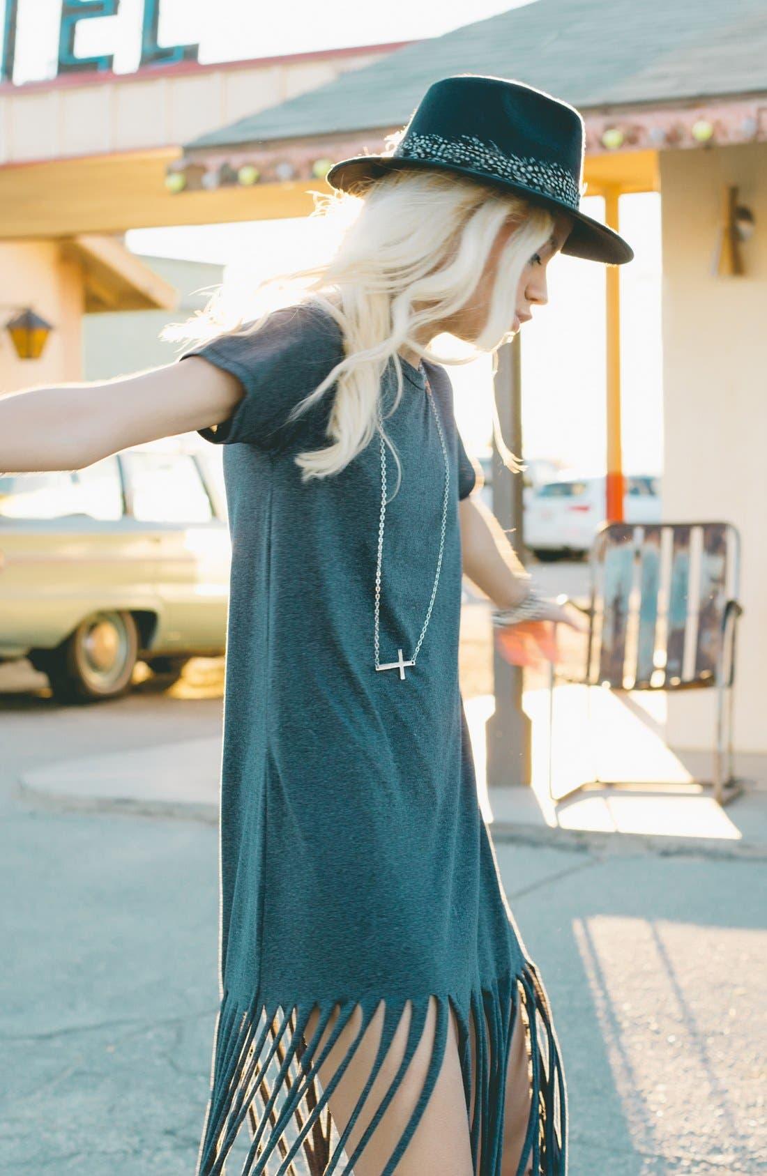 ,                             Fringe T-Shirt Dress,                             Alternate thumbnail 6, color,                             021