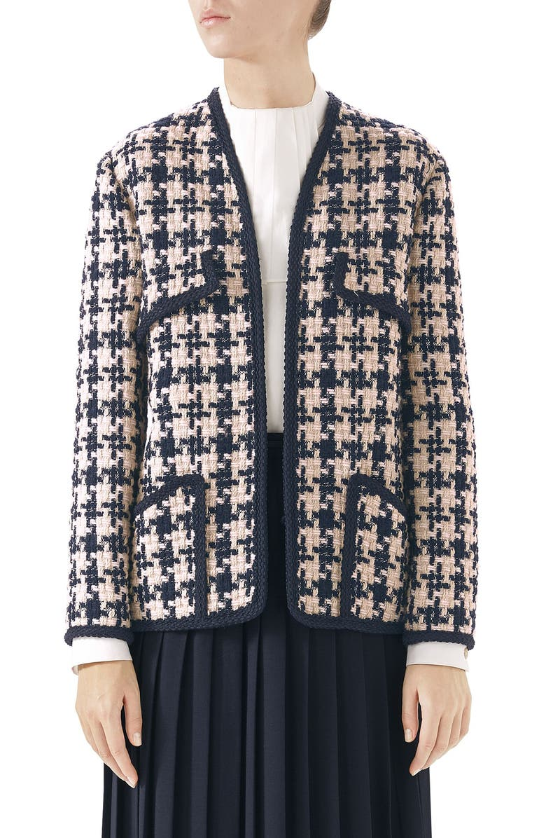 GUCCI Tweed Jacket, Main, color, INK/ NATURAL WHITE