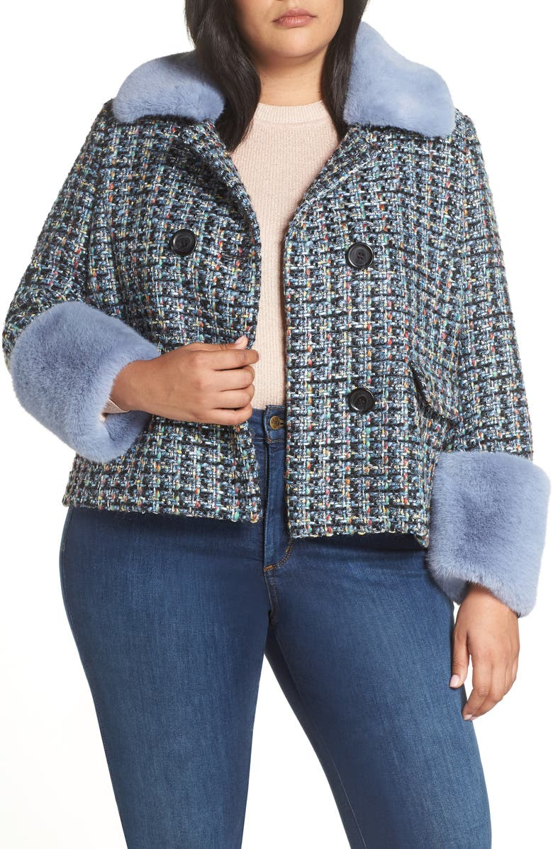 HALOGEN<SUP>®</SUP> x Atlantic-Pacific Tweed Jacket with Removable Faux Fur Trim, Main, color, 001