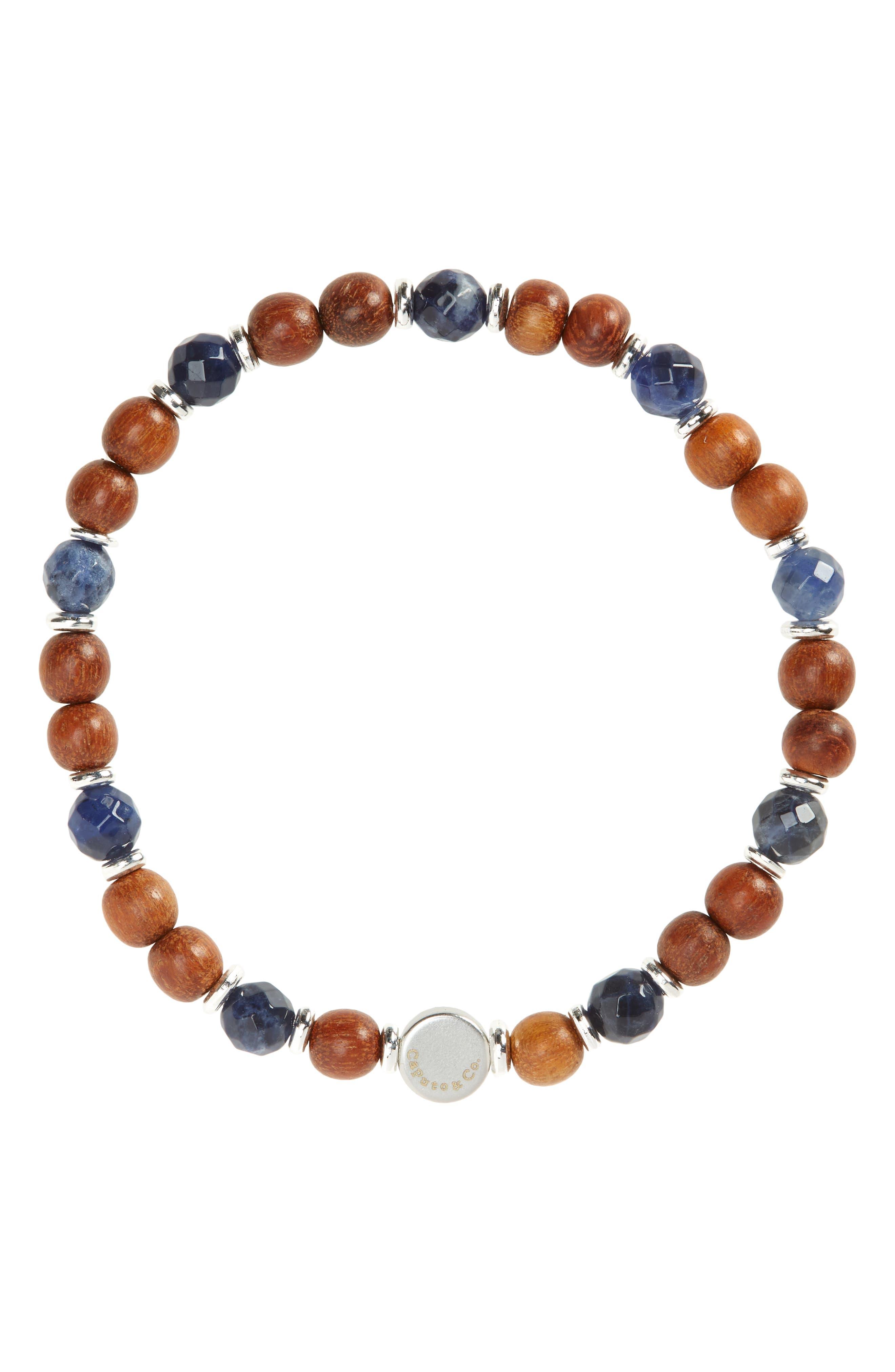 Men's Stone & Wood Beaded Bracelet
