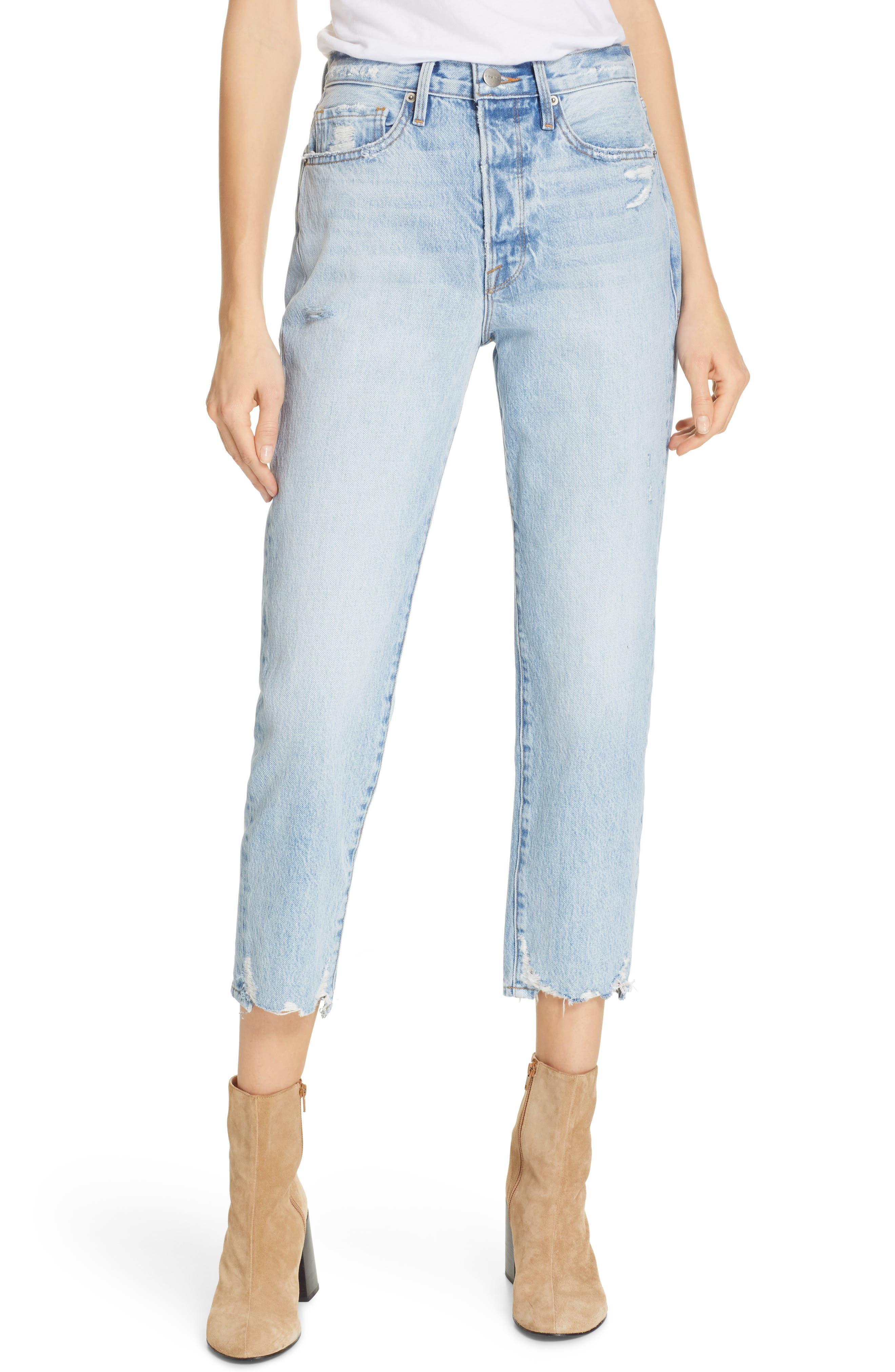 FRAME Le Original Ripped High Waist Crop Jeans (Clash)