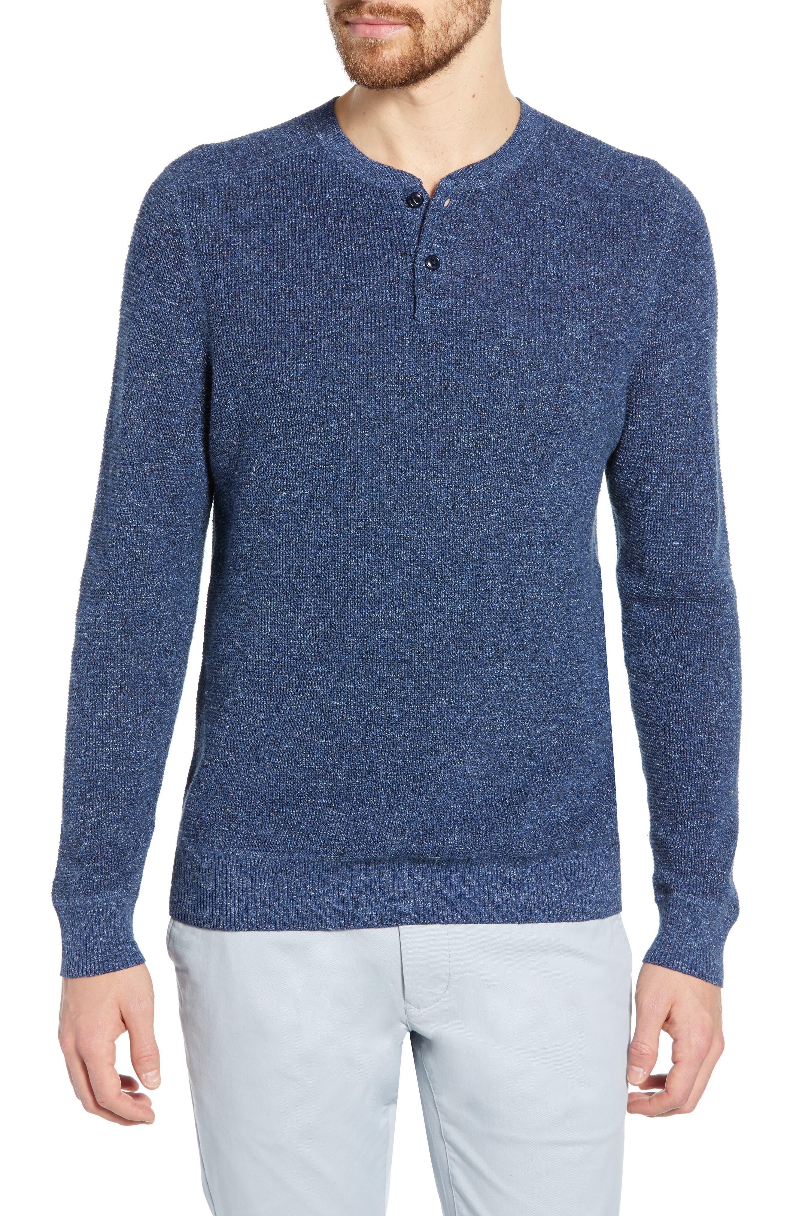 Bonobos Cotton & Linen Slim Fit Henley Sweater, Blue