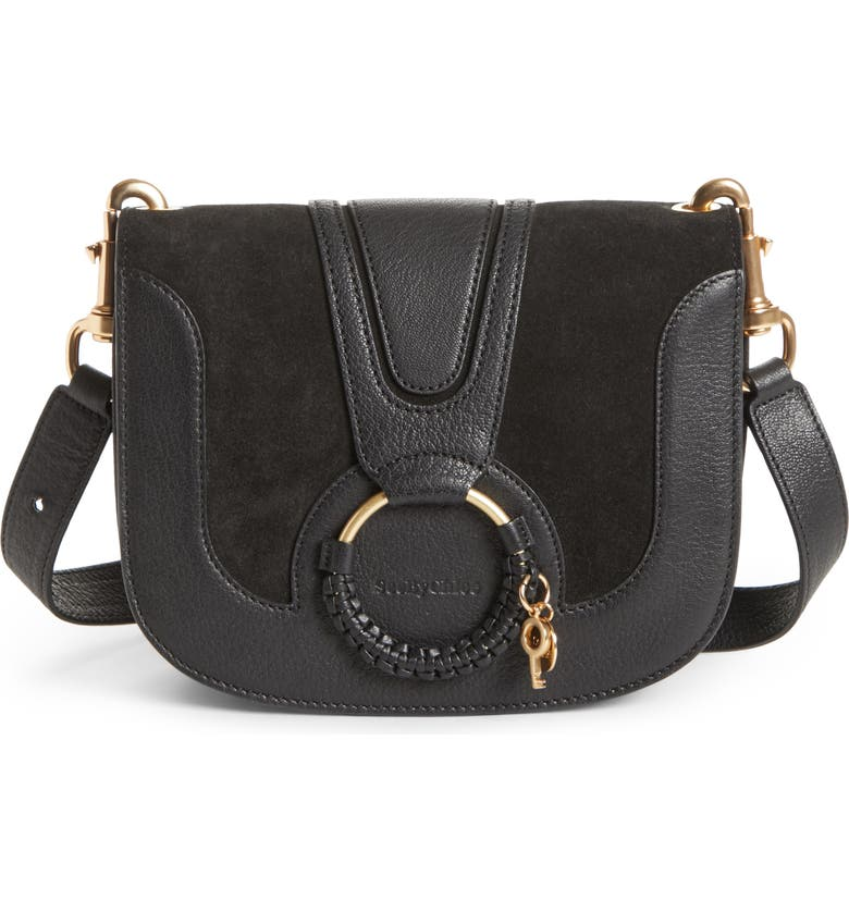 SEE BY CHLOÉ Hana Suede & Leather Shoulder Bag, Main, color, BLACK