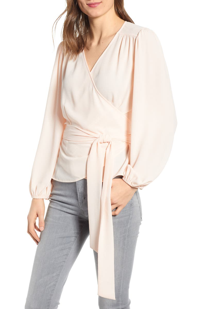 CHELSEA28 Wrap Top, Main, color, PINK WOOD